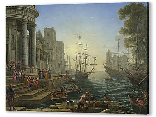 Постер на подрамнике - Seaport with the Embarkation of Saint Ursula