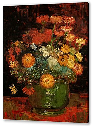 Vase with Zinnias