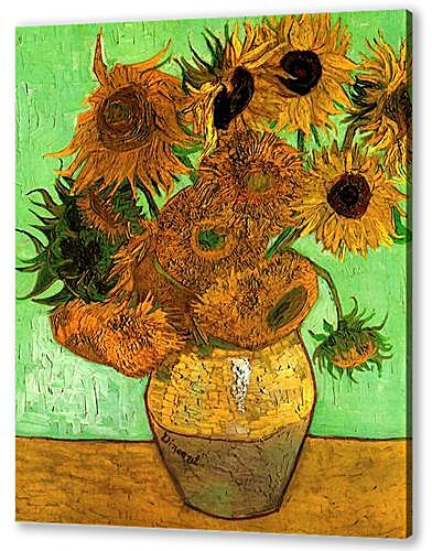 Still Life Vase with Twelve Sunflowers 2