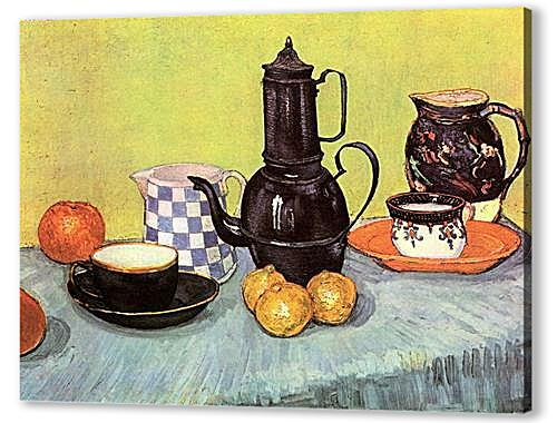 Still Life Blue Enamel Coffeepot, Earthenware and Fruit
