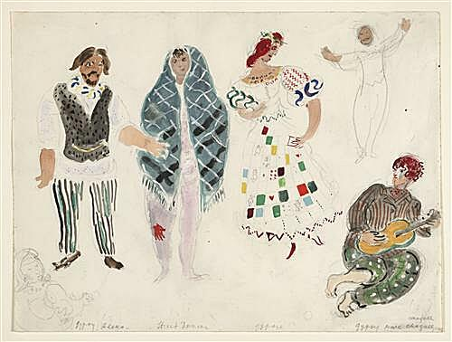 Плакат на стену - A Street Dancer and Gypsies, costume design for Aleko
