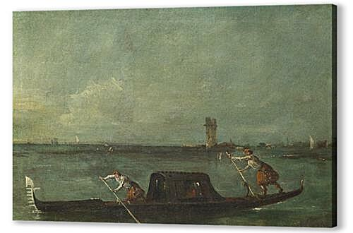 Постер на подрамнике - A Gondola on the Lagoon near Mestre